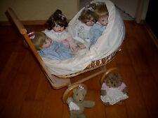 Puppenwagen aus holz mit 5 porzellanpuppen von Ashton Drake-tolles Deco