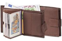 Platino Kompakte Geldbörse mit vielen Kartenfächern aus feinem Leder in Braun