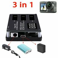 3 in1 Battery Charger Hub Intelligent Display Quick Charging For DJI OSMO Action