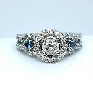 Stunning Blue & White Diamond 14K White Gold Engagement Ring