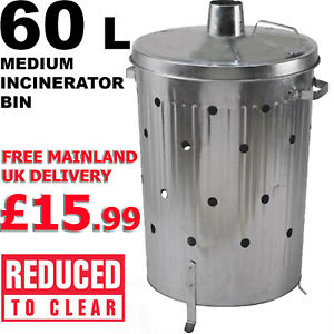 FIRE BIN Incinerator Bin Galvanised Waste Burning Rubbish Medium Garden