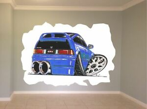 Huge Koolart Cartoon Honda Crx Wall Sticker Poster Mural 1215 Blue