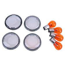 4× Turn Signal Light Smoke Lens Cover w/ Bulbs For Harley Dyna Softail Sportster