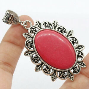 """Red Coral 925 Silver Plated Handmade Gemstone Pendant of 2.5"""" Ethnic Gift"""