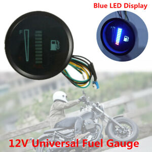 12V Car Motorcycle Scooter 2inch 52mm LED Display Fuel Level Meter Digital Gauge