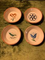 Studio Stoneware Art Pottery Set Of 4 Small Bowls Rare  Mid-Century Modern VTG