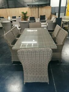 Trentham 6 Seater Rattan Style Dining Set in Natural Weave Colour