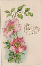 CARTE ANCIENNE FANTAISIE Gauffrée-BONNE FETE(adressée à Marthe Carnevilier)ROSES