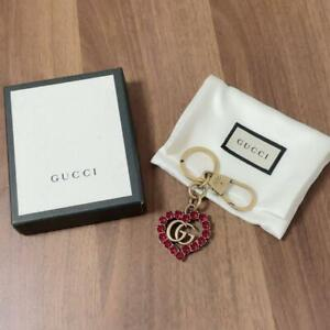 AUTH GUCCI HEART KEYRING BAG CHARM GG MARMONT GOLD MADE IN ITALY F/S