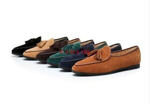 Mens Suede leather Tassels Bowtie Slip on Loafers moccasins Dress casual Shoes