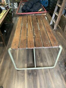 Mid Century Vintage Industrial Steel And Mahogany Table And Chairs, Military