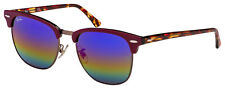 Ray-Ban Clubmaster Sunglasses RB 3016F 1222C2 55 Violet | Green Rainbow Flash Le