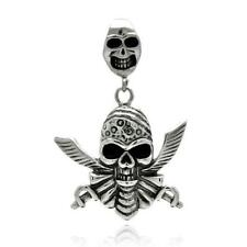 Stainless Steel Pirate Skull Pendant / Charm, Free Bead Ball Chain