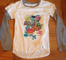 Disney Parks Long Sleeve Layer Look Ruffle T-Shirt Graffiti Graphic Mickey Mouse