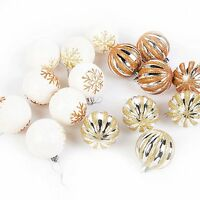 Christmas Tree Hanging Bauble Decorations (60mm) 16 x Glitter Gold / Bronze