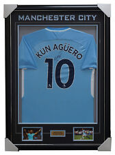 Sergio Aguero Signed Manchester City Jersey Framed with Photos and Plaque + COA