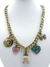 "Juicy Couture Necklace Starter with Charms Gold Tone 17.75"" N271"