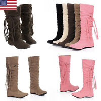 Womens Ladies Tassel Hidden Wedge Knee High Fashion Mid-calf Slouch Boots Size