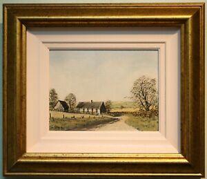 Original Irish Art Oil on Board Painting COUNTY DOWN FARM COTTAGE by DEREK QUANN