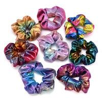 1pc Glitter Bronzing Rainbow Elastic Hair Bands Girls Hair Rope Scrunchie H7