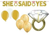 SHE SAID YES BANNER ENGAGED ENGAGEMENT RING PARTY DECORATIONS BALLOONS GOLD