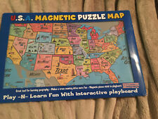 America Magnetic Puzzle Usa Map Play-N-Learn Geography Playboard Nib Usa