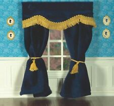 Navy Blue Velvet Curtains 12th Scale for Dolls House