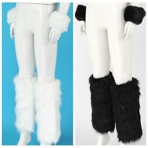 Set of Two Womens Girls Fashion Winter Faux Fur Furry Leg Warmers with Cuffs