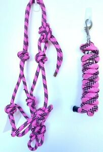 Rope Halter, Rope Headstall with 7ft lead Pony Cob Full XFull Various Colours
