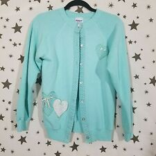 Fairy Kei Mint Green Medium Cardigan Sweater Hearts Harujuku Retro Vintage Cute