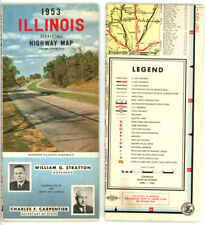 Vintage 1953 Illinois Official State Road Map from IL Division of Highways