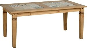 Salvador Tile Top Dining Table Distressed Waxed Pine
