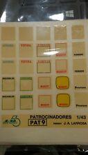 """DECAL CALCA 1/43 JUEGO DE LOGOS / LOGOS SET """"PLACAS PLATES RALLY"""" JAL43"""