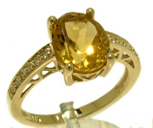 R169 Genuine 9K or 18K Gold Natural Oval Citrine & Diamond Engagement Ring yr sz