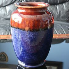 "Langley Mill Pottery Vase, Mottled Blue & Treacle Glaze, 9.75"" 1930's"