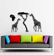 Wall Stickers Vinyl Decal Giraffe Africa Animal Continent Tree Decor (ig959)