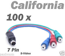 Lot 100 x pieces 7 Pin S-Video to 3 RCA RGB TV Component HDTV Adapter PC Cable