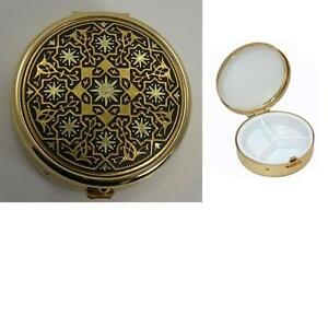 Damascene Gold Star of Redemption Round Pill Box by Midas of Toledo Spain 8505-5