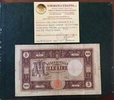 BANCONOTA LIRE 1000 GRANDE M BI 12 7 1946 MOLTO RARA certificata MB/BB SABAUDA