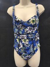 New ASOS Fuller Bust Underwired Floral Blue Vintage Swimsuit UK 34DD CQ48