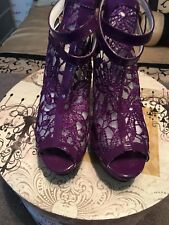 Sexy Ankle Lace Boot/ Heels Purple Back Zipper Adjustable Ankle Strapped