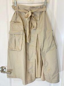 DKNY PURE Khaki Beige Cotton Blend Cargo Safari Tie Front Skirt Size 12