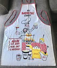 New listing Vintage Kib Kraft 1950's Barbecue Chef Apron Great Graphics