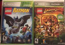 Xbox 360 Lot  : Lego Indiana Jones & Lego Batman Lots Of Family Fun!! USA 🇺🇸