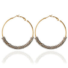 Fashion Women Jewelry Bohemian Gold Plated Big Round Circle Dangle Hoop Earrings