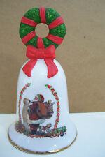 Avon 1995 Santa Fine Collectible Bell Hand Painted Wreath Handle