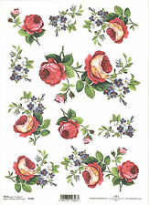 Rice Paper for Decoupage Scrapbooking, Red Roses Blue Flowers  A4 ITD R146