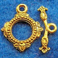 50Sets Wholesale Tibetan Antique Gold Detailed Round Toggle Clasps Hooks Q0712