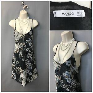 Mango Suit Black Floral Strappy Midi Dress UK XS EUR XS US 2