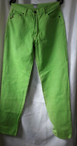 vintage moschino mens  jeans size 33  neon green